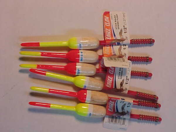 6 NEW EAGLE CLAW FISHING SPRING stick BOBBERS BALSA WOOD FLOATS panfish 12