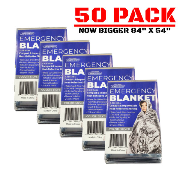 50 PACK • Emergency Solar Blanket Survival Safety Insulating Thermal Heat
