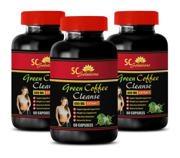 Weight loss for men - PURE GREEN COFFEE CLEANSE - antioxidant cleanser - 3 Bot