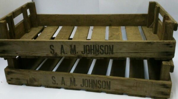 8*VINTAGE WOODEN APPLE CRATES CHITTING TRAY TRUG PLANTER SHABBY CHIC