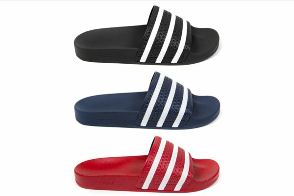 Adidas Adilette Slides in Scarlet 288193, Adi Blue 288022, Core Black 280647