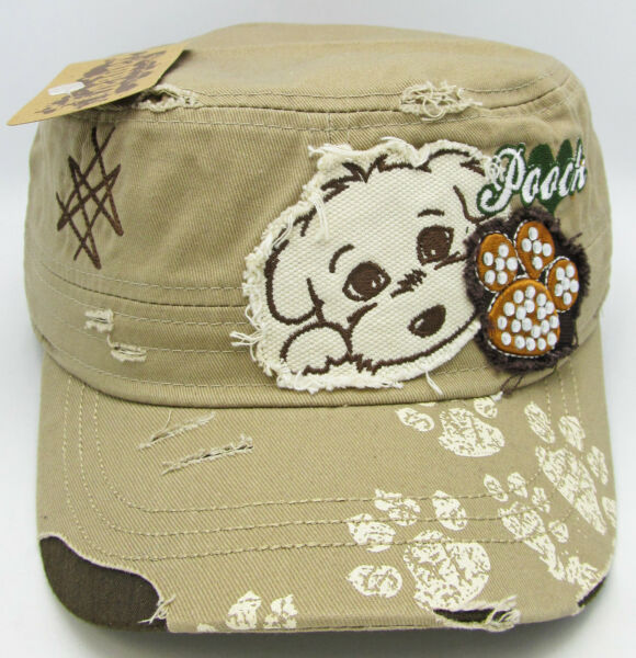 Puppy Dog Military Cadet Cap Hat OSFM Distressed Pooch Paw Rhinestone Beige NWT $13.45