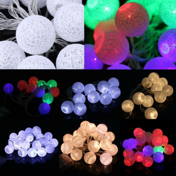 20 LED Cotton Ball Battery String Light Holiday Wedding Party Christmas Decor