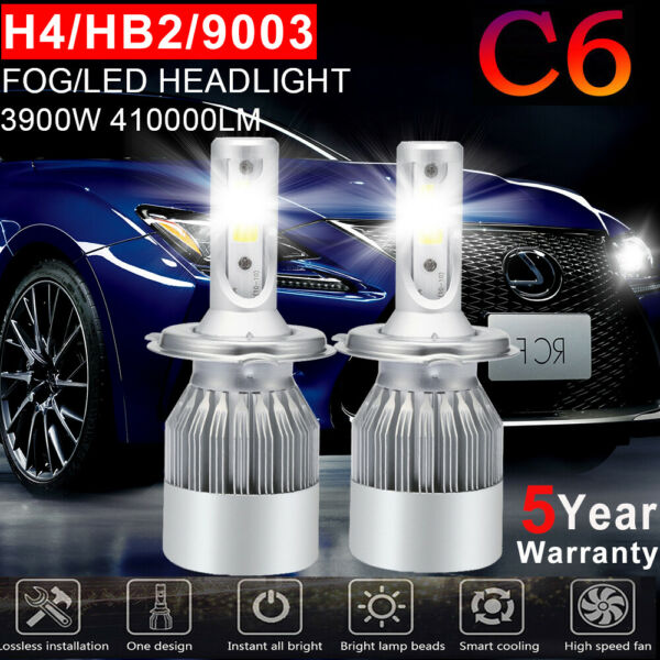H4 9003 LED Headlight  High/Low Beam Kit Bulbs 1200W 180000LM Lamps 6000K US GG