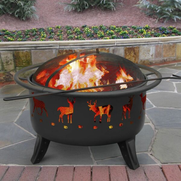 Deer Fire Pit Bowl Black Outdoor Firebowl Patio Backyard Metal Fireplace Heater