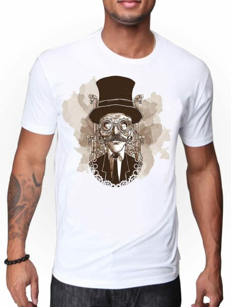 STEAMPUNK ART BRITISH MEN WEARING STEAMPUNK GLASSES T SHIRT VINTAGE PUNK