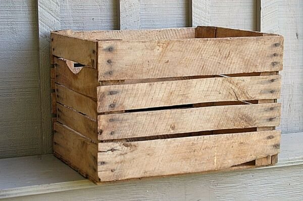 Old Vintage Rustic Primitive Wood Opened Wooden Shipping Crate Box Country Farm