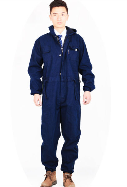Mens Coverall Denim Jean Overall Boiler suit Mechanic Welding Work Wear