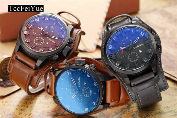 Fashion Curren Mens Stainless Steel Leather Analog Quartz Wrist Watch Military