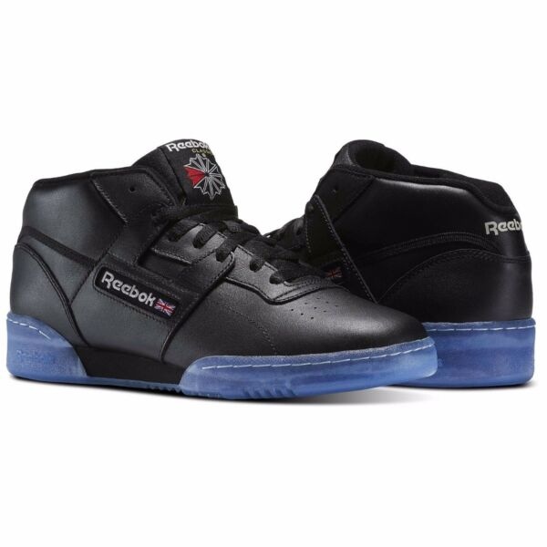 New Men's REEBOK Classics WORKOUT MID CLEAN BWI - BS7447 - BLACK/STEEL/RED