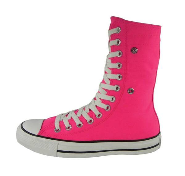 CONVERSE All Star Knee Tall X-Hi Shoes Neon Pink Canvas Chucks Women Sneakers