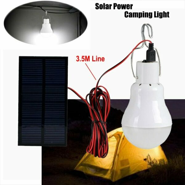 20W Portable Solar Panel LED Bulb Light Outdoor Emergency Camping Tent Lamp USA