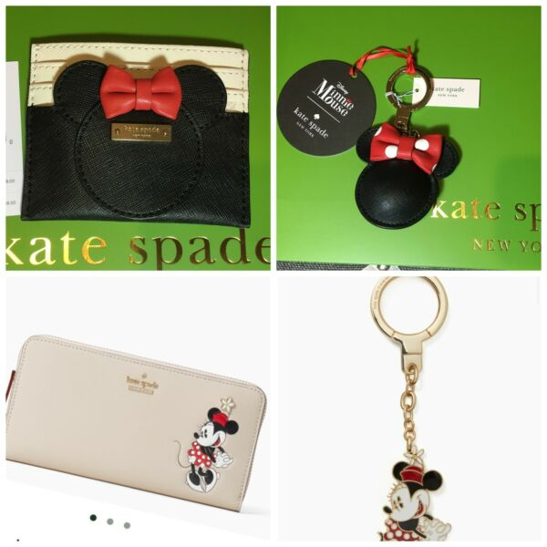 NWT Authentic KATE SPADE Disney Minnie Mouse Small Wallet ID Holder Key Chain