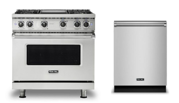 Viking Pro 36in Dual Fuel Range with Griddle & FREE Dishwasher - VDR5364GSS
