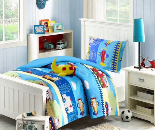 BEST SELLER AIRPLANES BOYS CHIC COMFORTER SET WITH FREE TOYS TWIN