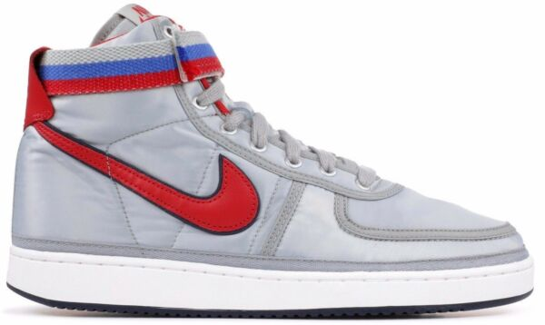 New Men's NIKE Vandal High Supreme QS - AH8652 001 Silver Red Sneaker