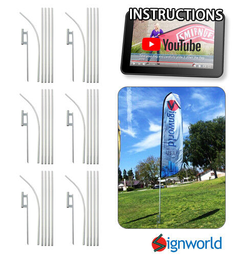 16#x27; TALL SLEEVE SWOOPER FLAG POLE KIT W Spike Flutter Feather Banner 6 PCS