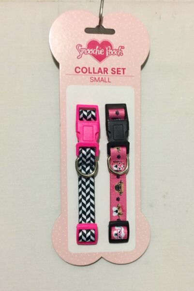 Smoochie Pooch COLLAR SET (2) Pink Hearts-Gray PinkWhite Dots PuppyDog Small
