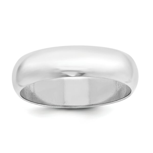 925 Sterling Silver Polished Half Round 6mm Wedding Ring Band Size 4 - 13