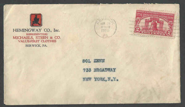 1926 Cover Hemingway & Co Sells Michaels & Sterns Clothes Berwick Pa