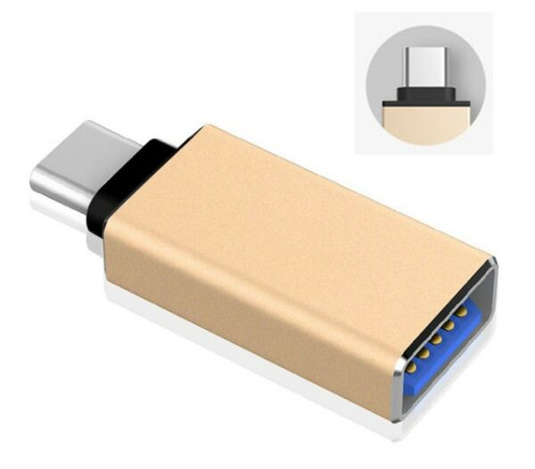 USB C Adapter auf USB 3.1 Typ C Konverter Tablet Smartphone Samsung Macbook Gold