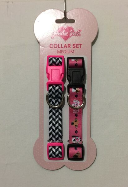 Smoochie Pooch COLLAR SET (2) Pink Hearts-Gray PinkWhite Dots PuppyDog Medium