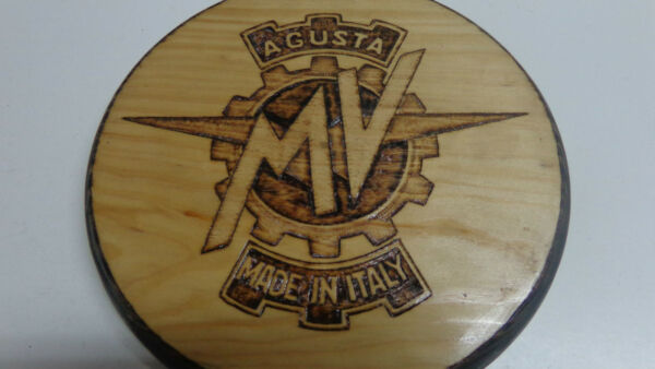 MV AGUSTA wooden sign with pyrography (BOX 54)