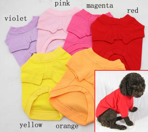Plain Dog Shirt Cotton Pet Clothing Blank Pet Tees TShirt - Size XS S M L XL XXL