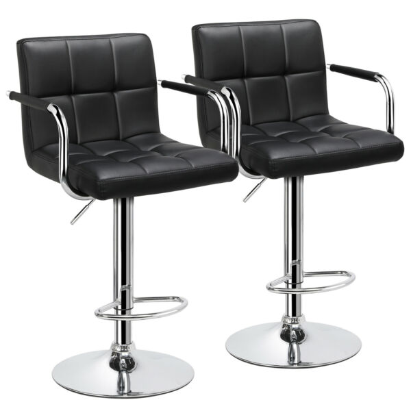 Adjustable Modern Swivel Bar Stools Dining Chair Counter Height Leather Set of 2