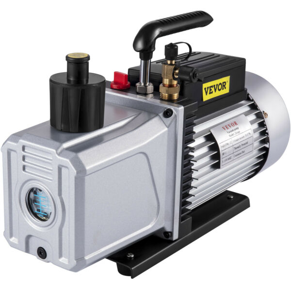 2 Stage 12 CFM Deep Vacuum Pump 1HP High Performance Rotary Vane HVAC Field Tool