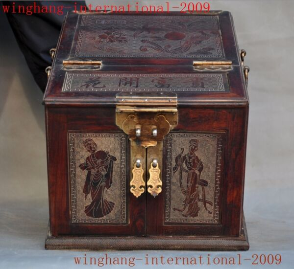 Old Huanghuali Wood Carving hand hold fan girl Statue Drawer Box Cosmetic case A
