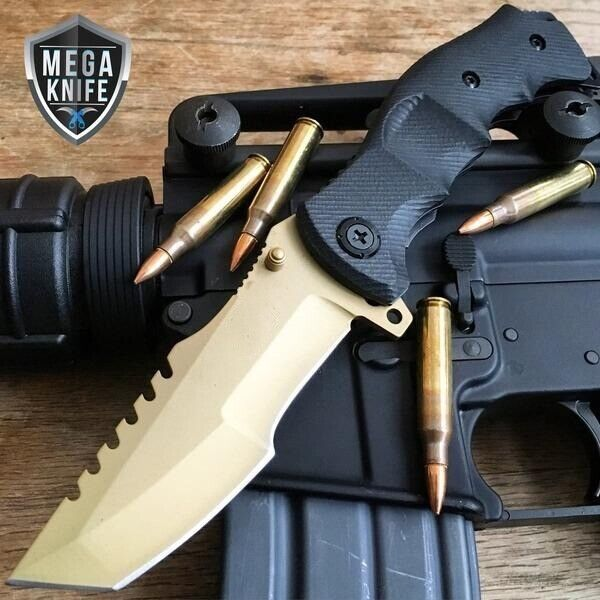 9quot; M Tech Gold G10 Spring Assisted Open Folding Pocket Knife Tactical Combat NEW