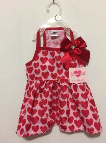 NWT Smoochie Pooch Lots of Red Hearts with Bow with Heart Bling Dress Small $15.99