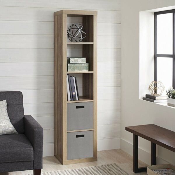Vinyl Record Storage Cabinet 5 Cube Wood Furniture Album Rack Shelves Book Crate