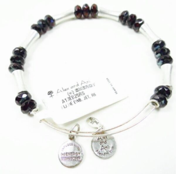 Alex and Ani Eden Equinox Jet Beaded Bracelet Silver Bangle Black Red Metal NWT