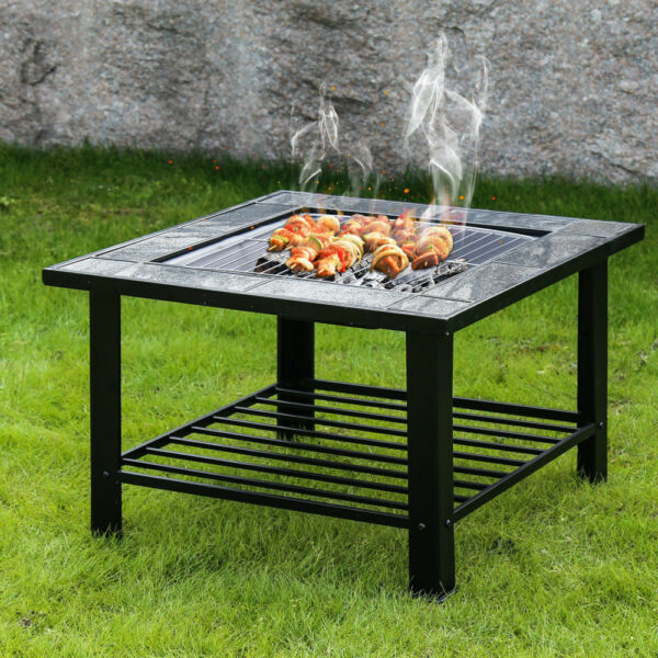 30'' Outdoor Garden Fire Pit BBQ Grill Brazier Square Stove Patio Heater Firepit