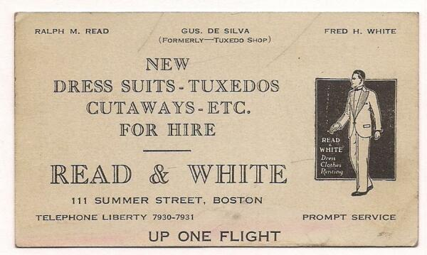 Early Men's Fashion Business Card~c1930~READ & WHITEBoston~For Hire Tuxedo Shop