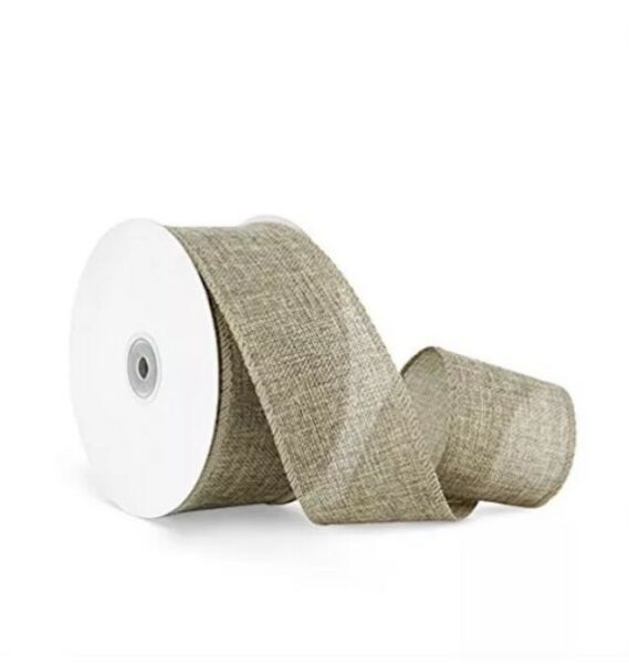 Craft Faux Burlap Jute Wired Ribbon 2.5 Inches by 25 Yards