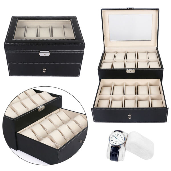 20 Slot Watch Box Display Case Leather Organizer Glass Jewelry Storage+ key USA