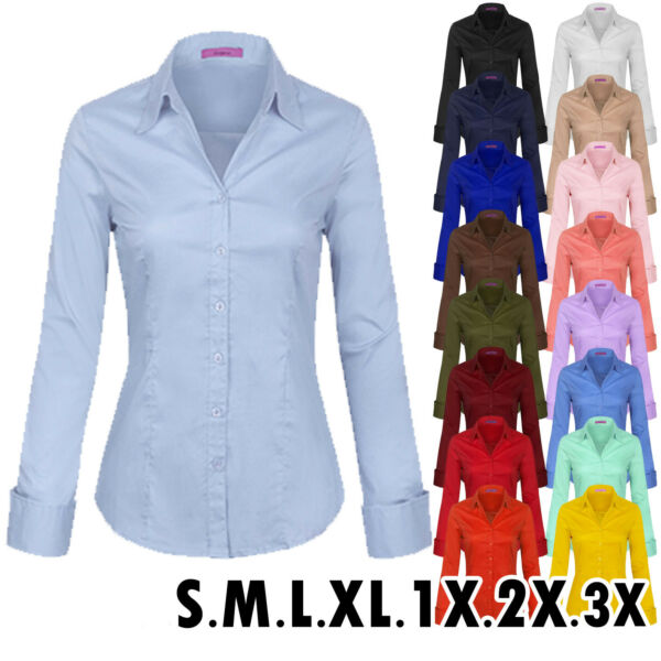 KOGMO Women's Solid Long Sleeve Button Down Office Blouse Dress Shirt (S-3X) $18.99