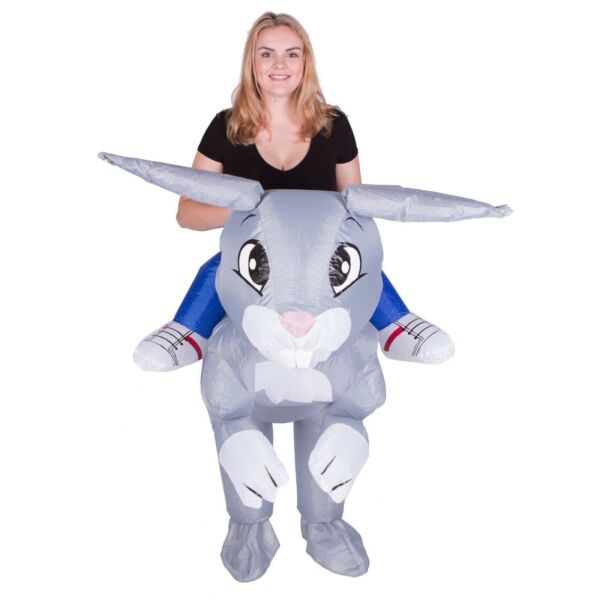 Adult Funny Inflatable Bunny Rabbit Mascot Costume Outfit Suit Halloween Easter