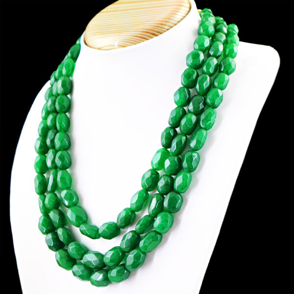 916.50 Cts Earth Mined 3 Line Rich Green Emerald Oval Faceted Beads Necklace