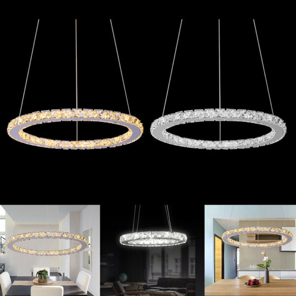 Ring Crystal LED Pendant Light Ceiling Lamp Galaxy Chandelier Lighting Fixtures