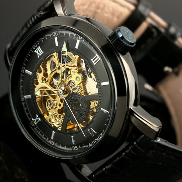 Mens Watch Automatic Black Stainless Steel Case Steampunk Skeleton Date Display