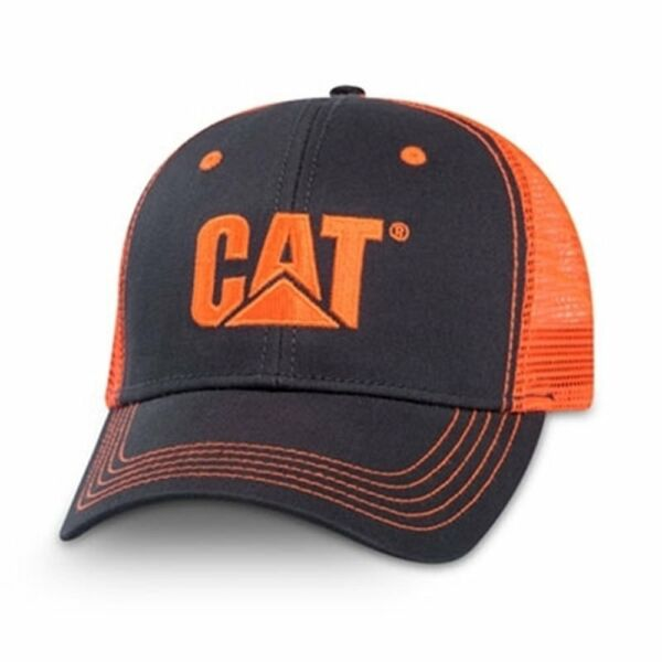 Caterpillar CAT Equipment Charcoal/Neon Orange Safety Snapback Mesh Cap/Hat
