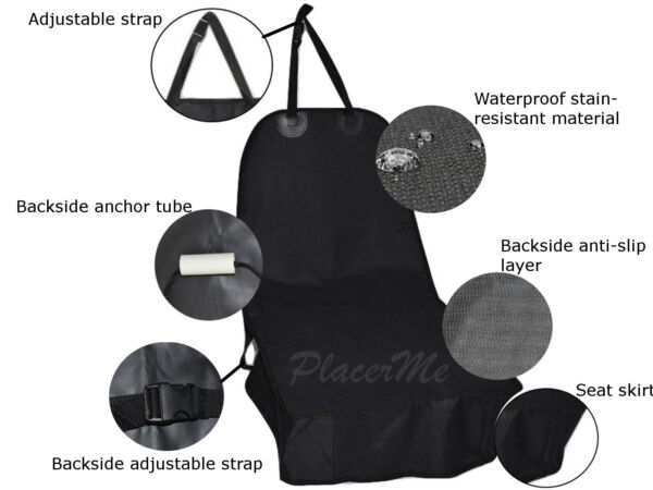 Pet dog waterproof front single bucket seat cover protector nonslip travel mat $14.99