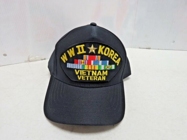 WWII KOREA VIETNAM VETERAN WITH CAMPAIGN SERVICE RIBBONS HAT 2829K