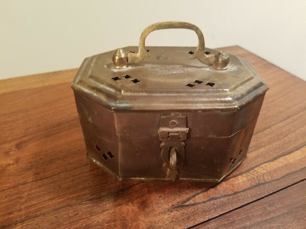 Antique Brass Hinged Lidded Lockable Oval Container Trinket Lock Box w Handle