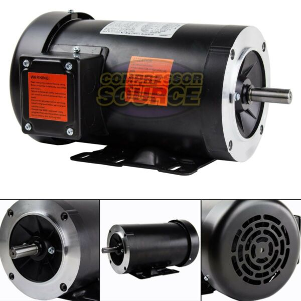 2 HP Electric Motor 3 Phase 56C Frame 1800 RPM TEFC 208 230 460 Volt New $349.95