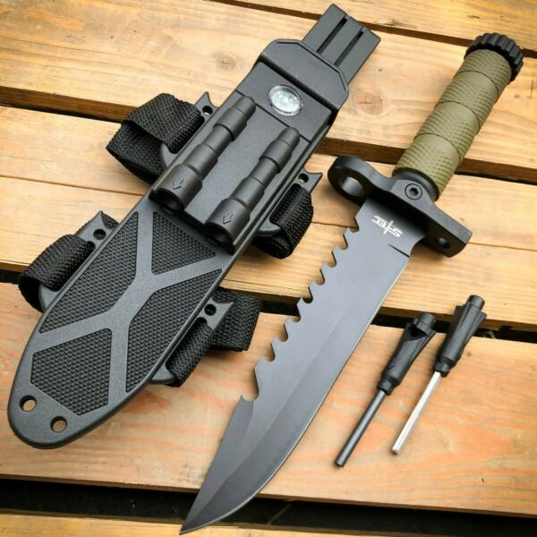 12.5quot; MILITARY TACTICAL FIXED BLADE Hunting Army SURVIVAL Knife w Fire Starter